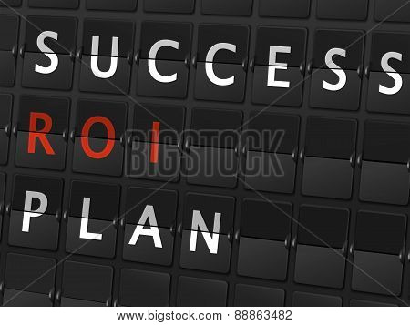 Success Roi Plan Words On Airport Board