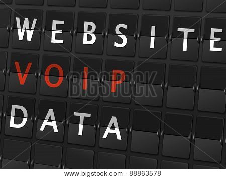 Website Voip Data Words On Airport Board
