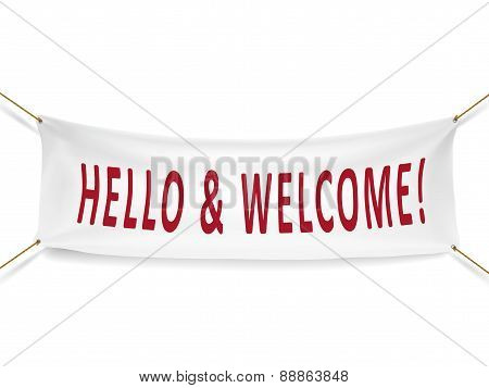 Hello And Welcome White Banner
