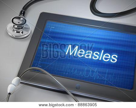 Measles Word Displayed On Tablet