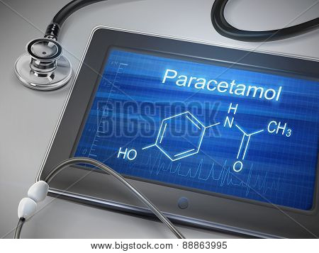 Paracetamol Word Displayed On Tablet