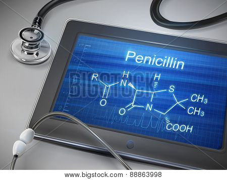 Penicillin Word Displayed On Tablet
