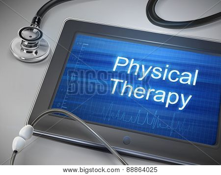 Physical Therapy Words Displayed On Tablet