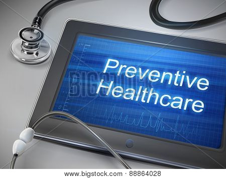 Preventive Healthcare Words Displayed On Tablet