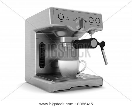 coffee machine isolated on white background with clipping path