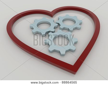 Heart And Gears Background Concept