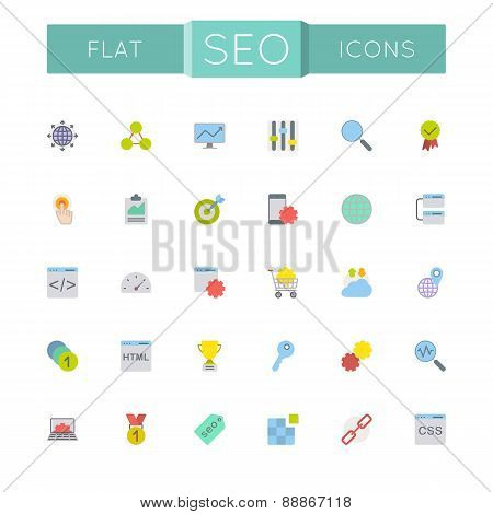 Vector Flat Seo Icons