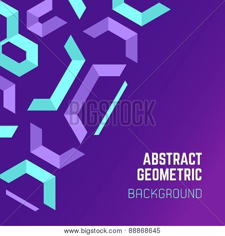 Violet Purple Blue Abstract Geometric Background .