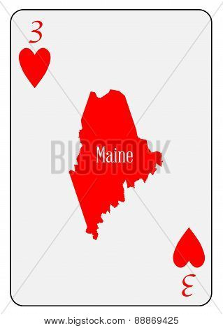 Usa Playing Card 3 Hearts
