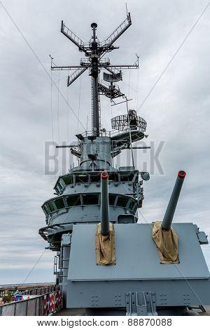 Guns on the Deck of an Old World War II Aircraft Carrier