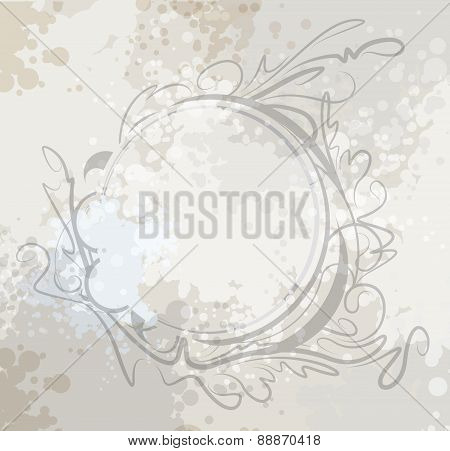 Decorative round frame on aged background. Vector illustration for your design.