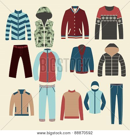 Winter Clothes Group Of Objects-illustration