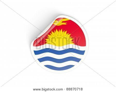 Round Sticker With Flag Of Kiribati