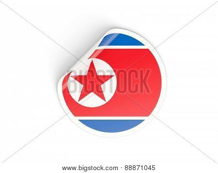 Round Sticker With Flag Of North Korea