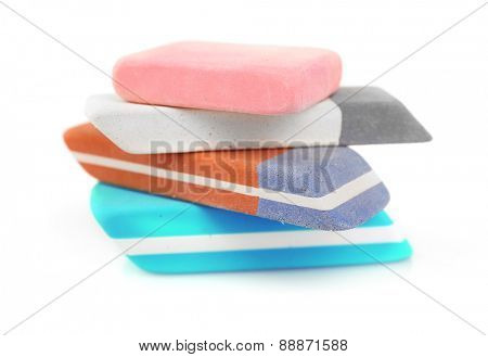 Stack of erasers isolated on white