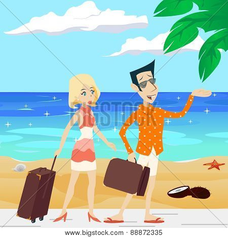 Cartoon Retro Vintage Male and Female Characters on Sea Beach Summer Vacation Tourism Journey Travel