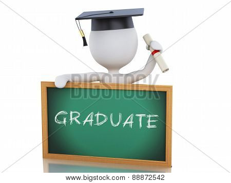 3d white people graduate with diploma, graduation cap and blackboard