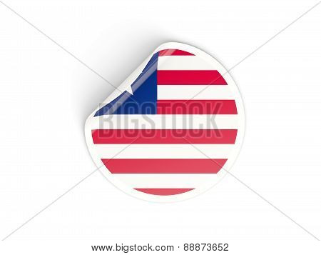 Round Sticker With Flag Of Liberia
