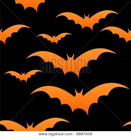 Orange bats on black, seamless tile, vector image