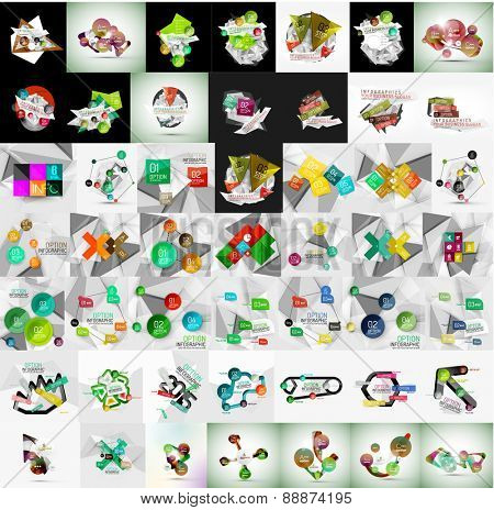 Super mega set of abstract geometric paper graphic layouts. Business presentations, backgrounds, option infographics or banner templates