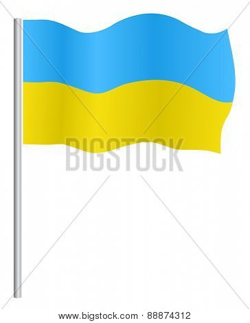 Flag of Ukraine with flagpole, on  white background