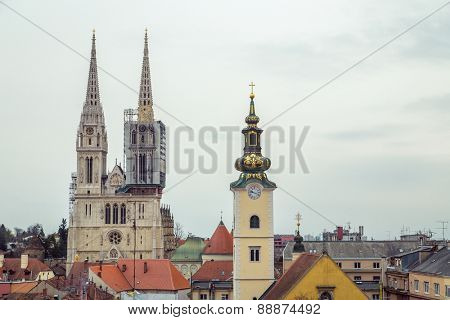 ZAGREB, CROATIA - 12 MARCH 2015: View of Zagreb Cathedral, St. Marie's Church and rooftops of surrounding buildings.