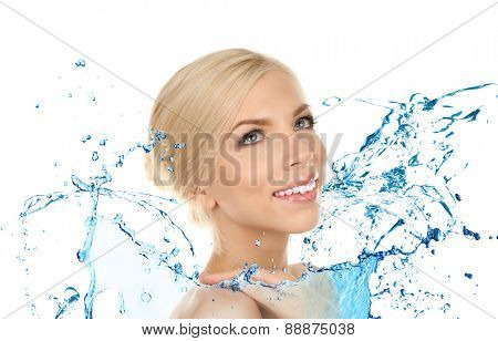 Beautiful young woman and water splash isolated on white