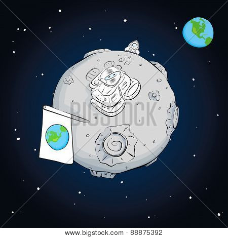 Astronaut Whith Flag On The Moon