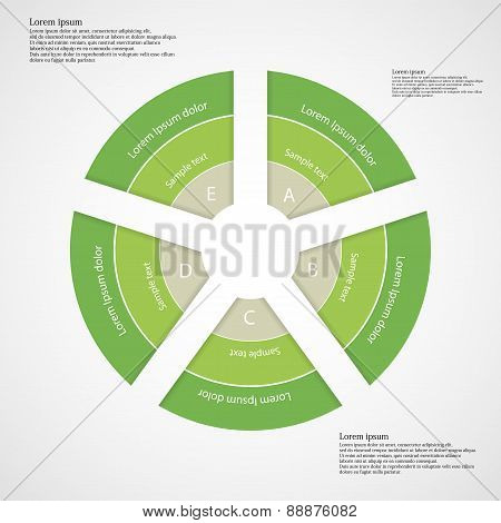 Round Infographic Consists Of Five Green Parts