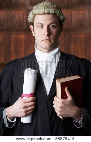 Portrait Of Male Lawyer In Court Holding Brief And Book