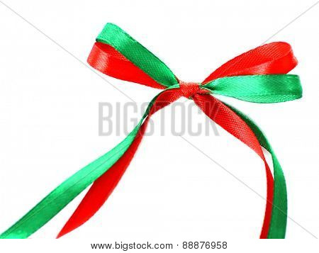 Bow of colorful ribbons isolated on white
