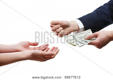 Fig from businessman with money to female isolated on white