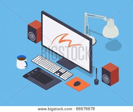 Digital artist workplace