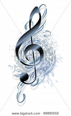 Abstract grunge musical background with treble clef. Vector illustration for your design.