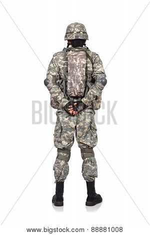 Us Soldier Standing Back