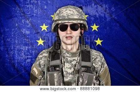 Soldier And European Union Flag