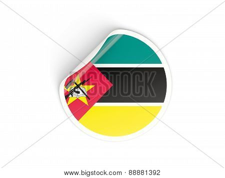 Round Sticker With Flag Of Mozambique