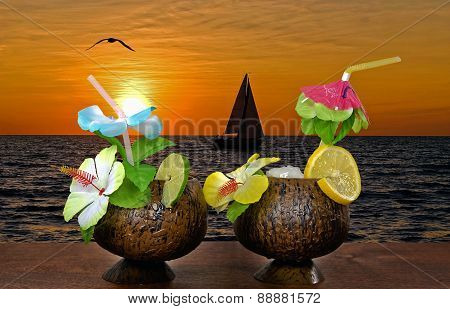 tropical cocktails at sunset