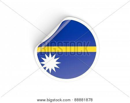 Round Sticker With Flag Of Nauru
