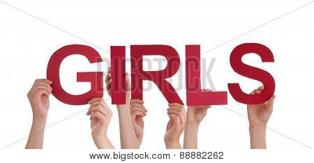 Many People Hands Holding Red Straight Word Girls