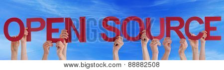 People Hands Holding Red Straight Word Open Source Blue Sky