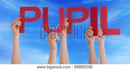 Many People Hands Holding Red Straight Word Pupil Blue Sky