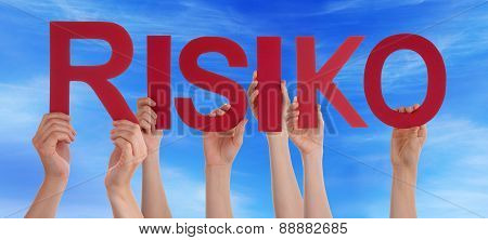 People Hands Holding Straight Word Risiko Means Risk Blue Sky