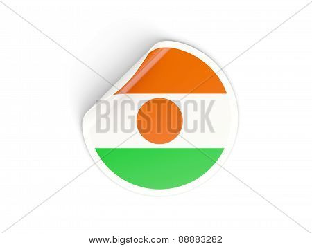 Round Sticker With Flag Of Niger