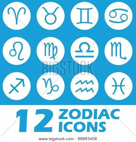Blue zodiac icons set