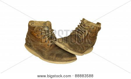 Old leather shoes isolated