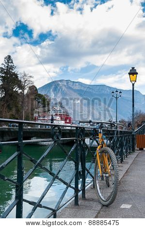 A bicycle, one of the most comfortable transportation in Annecy, France.
