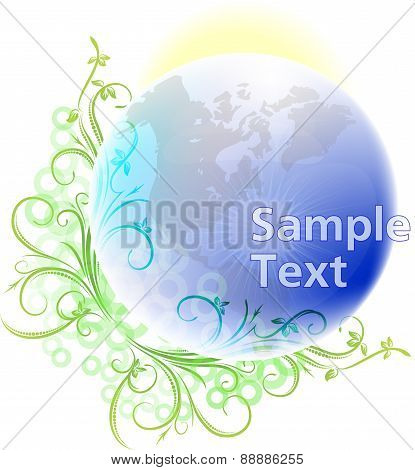 Blue planet Earth with a decorative plant branch and the sun. Vector illustration for your design.