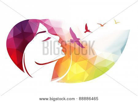 Vector modern background with woman face made of multi-colored triangles.