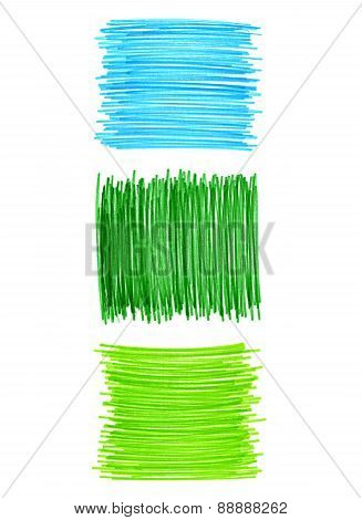 Abstract Color Drawn Elements For Design